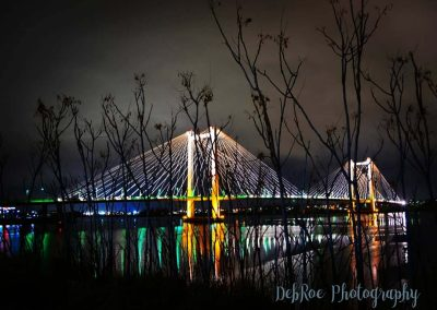 Cable bridge at night